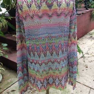 Sweaters - Multi Colored Crocheted Sweater